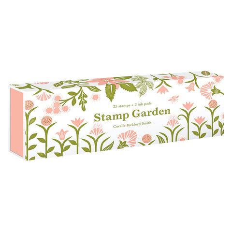 White sleeve box with blush pink inner tray. Front and sides covered in blush and green floral stamped designs