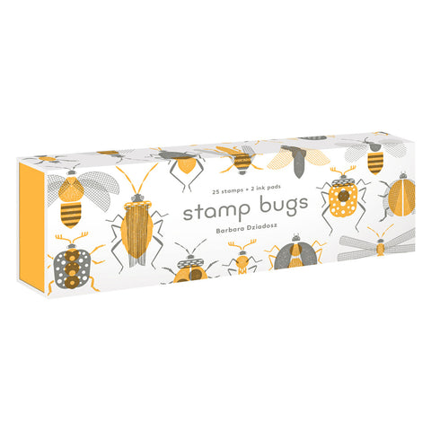 White rectangle box, with yellow sides, and a pattern of yellow and gray bugs.