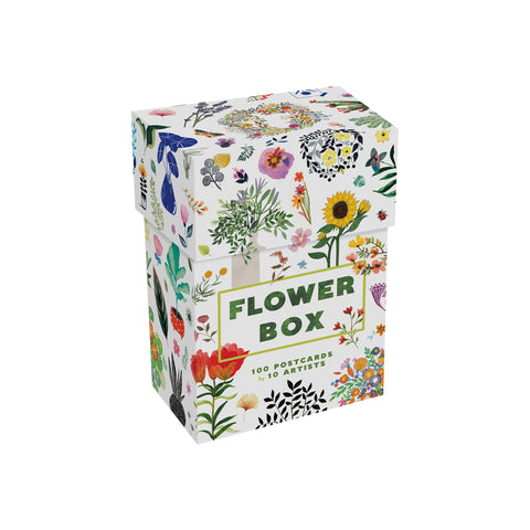 Upright white postcard box with dense pattern of vibrant floral illustrations