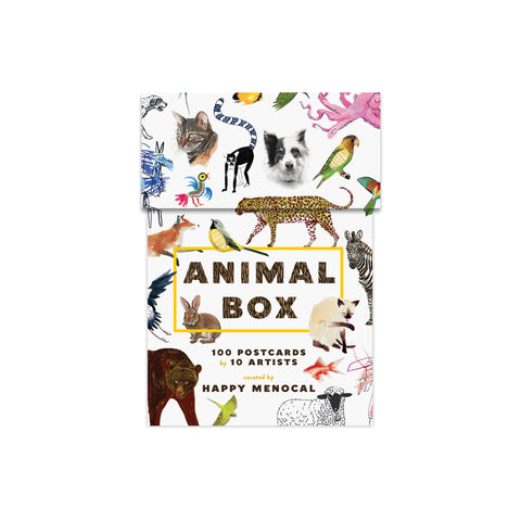 Rectangular, lidded, white cardboard box with numerous animal illustrations in different styles