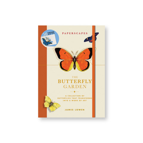 Book cover with orange spine and elastic band featuring illustrations of three colorful butterflies around the title in gold serf letters