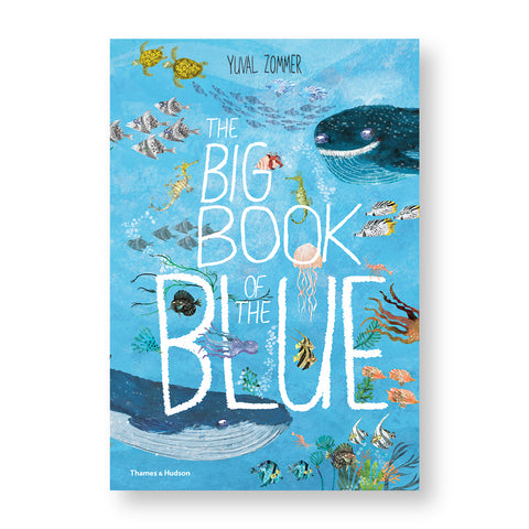 Book cover with illustration of colorful sea creatures big and small in blue waters among the letters of the title hand drawn in white