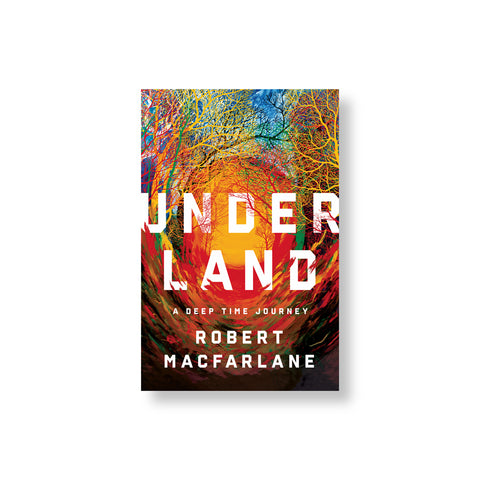 Book cover with illustration of a receding tunnel of soil and tree branches rendered in psychedelic colors splicing the title in white letters in the center