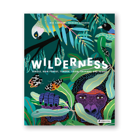 Book cover with illustration of a purple gorilla peering through green leaves holding insects and birds. Title in jumbled white letters through the middle