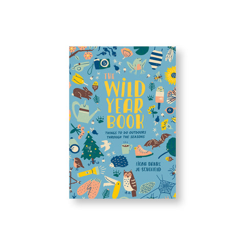 Blue book cover with playful illustrations of plants animals and camping objects surrounding hand illustrated title in yellow