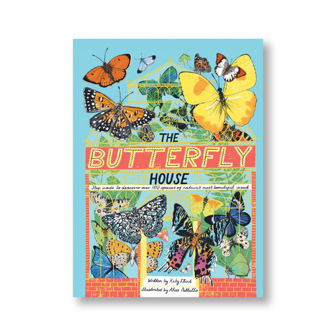 Light blue book cover with illustration of an victorian green house with green plants inside and ornate yellow lattices surrounded and filled by colorful butterlies