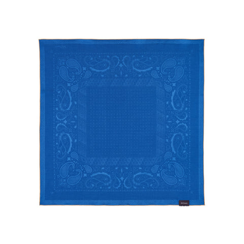 Monochrome blue bandana decorated with patterns of paisley.
