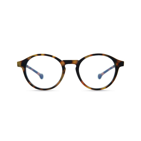 Volga readers with tortoise frame and rounded out lens.