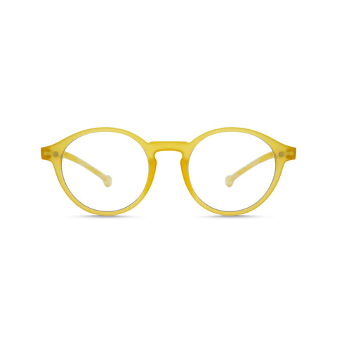 Volga Readers featuring a mustard frame and round 60s style lens.