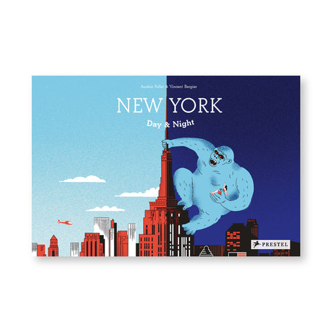Horizontal illustrated book cover with new york skyline in red with the empire state building in the middle on the left is day on the right is night with king kong hanging on the side. Title above in white letters