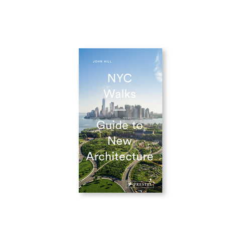 Book cover with photograph of a landscaped environment in the foreground and lower manhattan in the background undera blue sky. The title is overlaid vertically stacked through the center in white sans serif letters.
