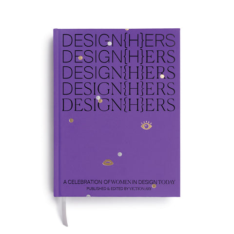 "Purple book cover with the word ""Designers"" repeated five times with the letter ""H"" in brackets between the ""N"" and ""E"" gold and silver dots a lip and an eye dot the cover"