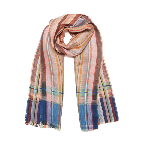 Heacham Silk Linen Scarf displayed on a white background as though casually draped around an imaginary neck in creamy rose, teal, aqua pink, maroon and peach tones woven in a crisp linen weft with a striped, silk warp.