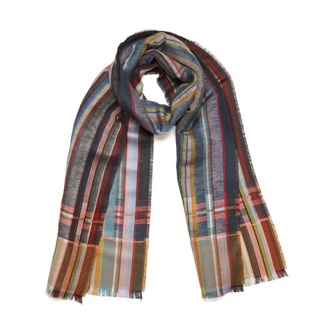 Blakeney Scarf in blue, gray, rust, brown and pale green stripes combines crisp, papery linen in the weft with a striped, silk warp.