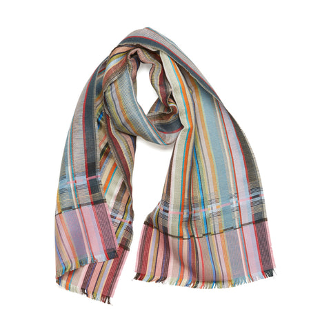 Dunwich Scarf displayed on a white background as though casually draped around an imaginary neck in rose, teal, turquoise, plum and pale green tones woven in a crisp linen weft with a striped, silk warp.