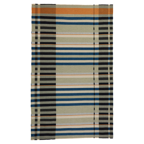 Full length Stölzl Orchard Blanket on a white background, featuring a crisp graphic weave of strong black verticals and horizontal bands of teal, sage, orange and cream.