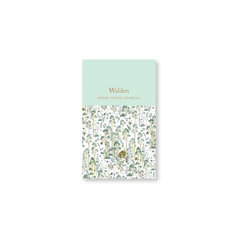 Small book cover with title in gold foil in a mint field over a charming green and brown illustration of a cabin in a sea of trees