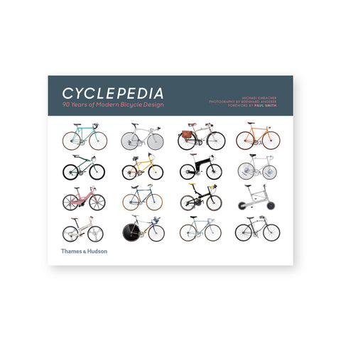 Horizontal book cover with grid of bicycles in profile against a white background below a blue band with title information