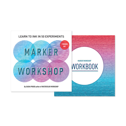 Two square book covers side by side showing patterned ink marks in a blue and red gradient