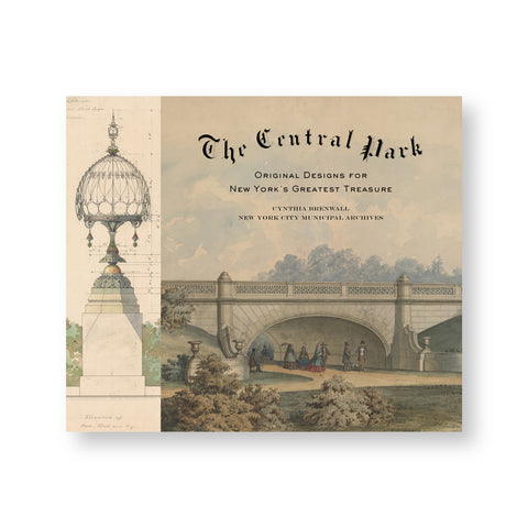 Book cover with delicate watercolor depiction of a central park bridge over well dressed figures. To the left is a architectural elevation sketch of landscape ornament
