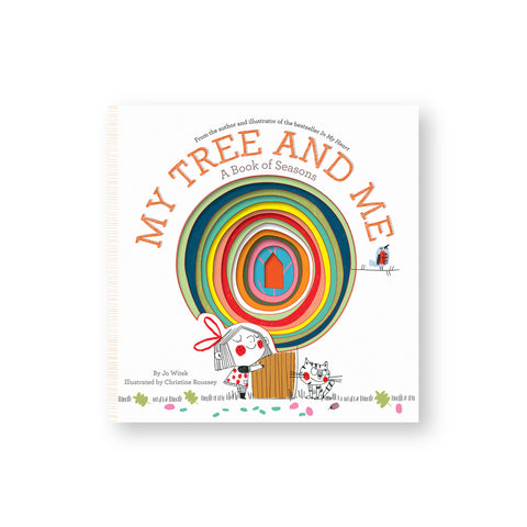 Book cover with concentric cut outs in the center revealing a colorful tree with a young child wearing a dress hugging the trunk