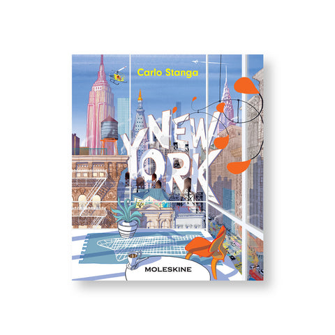 "Square illustrated book cover with glass curtained midcentury living room looking out on colorful new york city skyline with punchy shadowed white letters spelling out ""New York"" mixed in with the buildings"