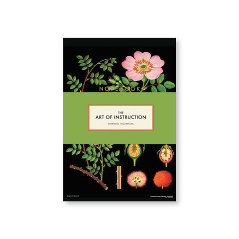 "Black notebook cover with floral drawings and cross sections. ""Notebook"" printed in gold sans serif font in upper center and a green belly band shows title information"