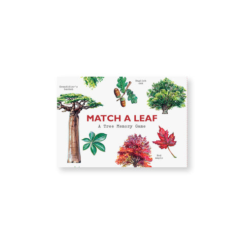 White rectangular box with several illustration of trees and leaves surrounding the title in red