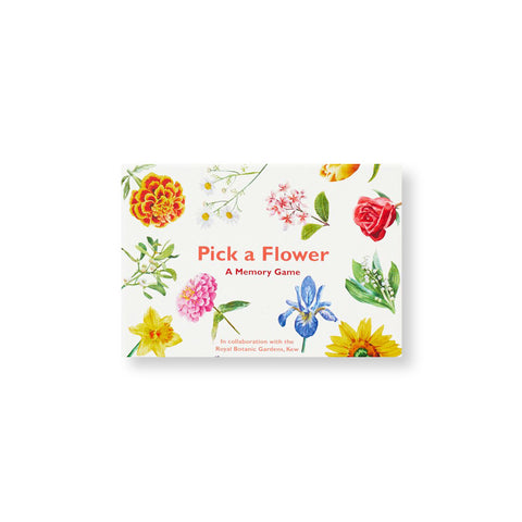 White box showing colorful flower illustrations around orangish red title information