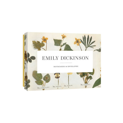 notecard box decorated with images of pressed flowers and central white field with title