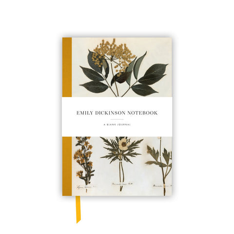 Notebook cover with title on white band above image of pressed flowers and a golden yellow spine. Bookmark ribbon in same color peeking out below