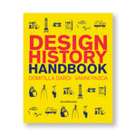 Yellow book cover with indigo illustrations of design objects above and below bold red and blue title