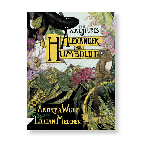 Book cover with illustration an environment covered in plants flowers and animals as well as a golden circular device with measurement marks along the edge. Title illustrated in black serif letters in yellow boxes