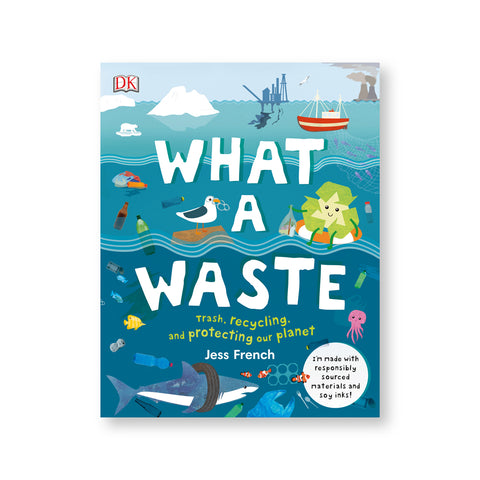 Book cover with illustration of a seascape with industrial buildings in the background plastic floating in the midground and sea creatures trapped by plastic in the foreground. Title in large white illustrated letters