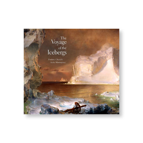 Horizontal book cover with oil painting of arctic iceberg scene. Title stacked and overlaid near top left in white serif letters