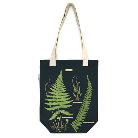 Black tote bag with white handles, and colored drawing of three different types of fern.
