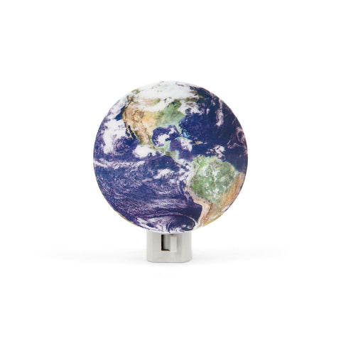 Earth Night Light with white plug-in base and round shield showing realistic earth view from space