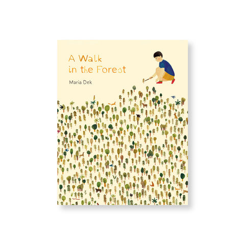 Cream colored book cover with a young dark, short haired figure crouched on one knee setting up a small tree situated above a large forest of similar miniature trees and animals