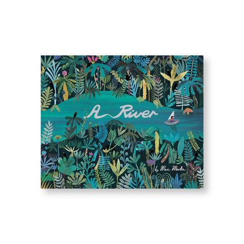 Book cover with a lush illustration in greens and blues of a river winding through a dense forest with diverse foliage. A small sailboat sails down the river with also features the book title in a flowing white script