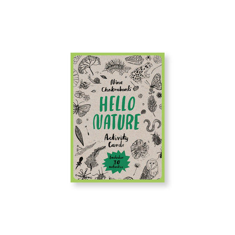 Gray card deck cover with a lime green border and black illustrations of plants and animals surrounding hand drawn title in green and black