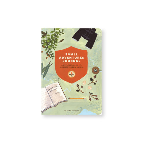 Journal cover with charming illustration of leaves binoculars and stationery with a light green map background