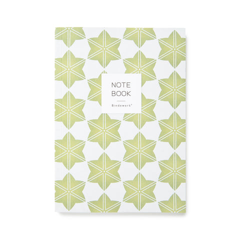"Notebook cover with an all over green leaf pattern. Over the pattern, a white square reads ""NOTE BOOK."""