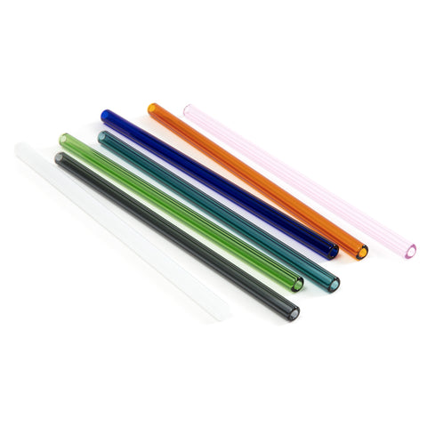 6 glass straws in dark grey, green, turquoise, dark blue, orange, and pink
