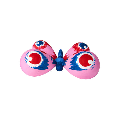"Butterfly. This fanciful hand-painted butterfly is made of linden wood, and has four bright pink balloon-shaped wings with red and blue ""eye"" decorations and a two tone blue thorax and head."