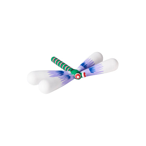 Colorful hand-painted dragonfly made of light-weight linden wood, with a bright green body with pink and black stripes, bulbous red eyes with white pupils, and four plump white wings with purple and blue fan-shaped accents.