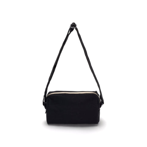 Black small pouch with matching adjustable shoulder strap and zip closure