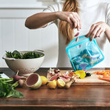 Aqua Stasher being filled with marinade recipe.