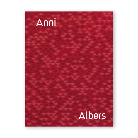 A cover with a rhythmic pattern of  intersecting and overlapping triangles in complementary shades of red, plum and pink. Anni is spelled in white letters in the upper right and Albers in the lower left, sans serif.