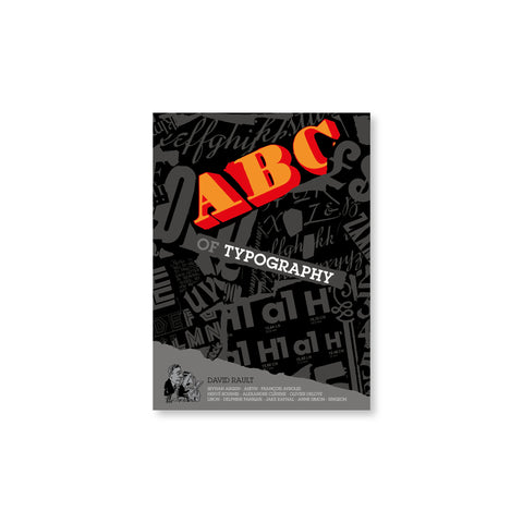 "Black book cover with ""ABC"" large in orange and ""Of Typography"" below, and gray letters in various typefaces strewn across the cover."