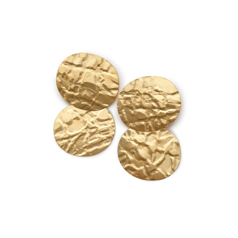 Two linked gold disks imprinted with a texture like a crumpled paper bag.